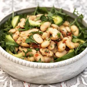 Bowl of gigantes bean salad