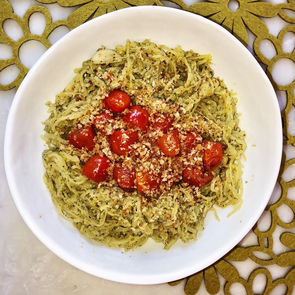 Basil-mint pesto spaghetti squash