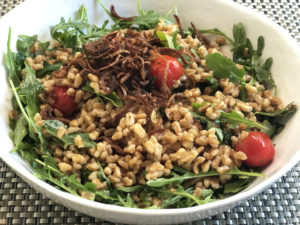 Zesty Farro Grain Bowl with Crispy Shallots