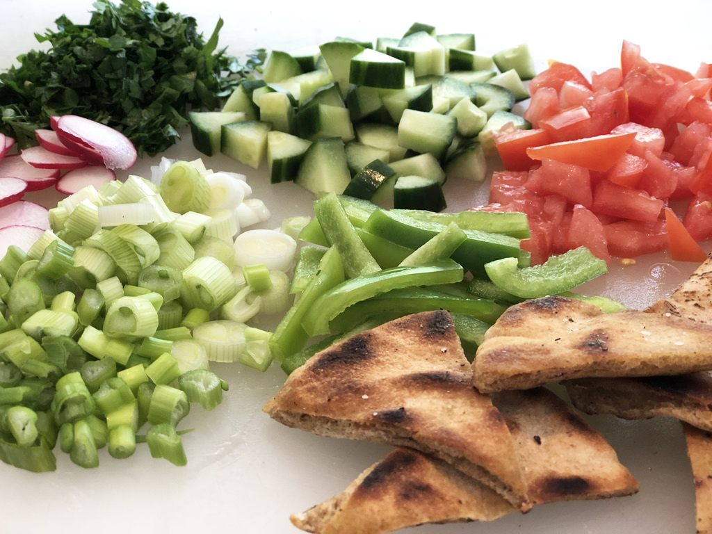 Close up of Fattoush ingredients