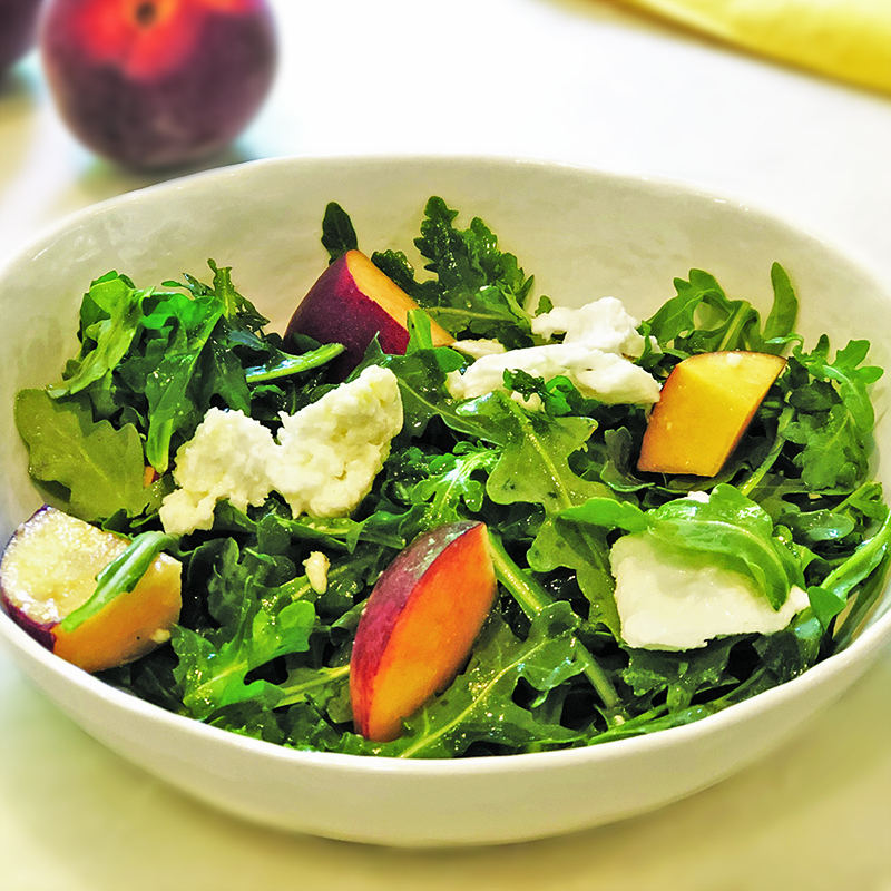 Arugula, Peach Salad with Mozzarella