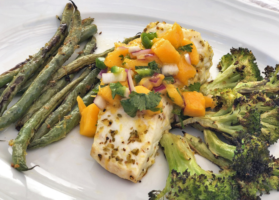 Roasted Halibut and Vegetables with Mango Salsa