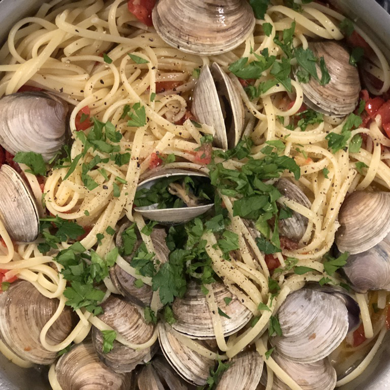 Close up of Linguini and Clams