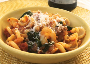 Pantry Pasta with Sausage, Tomato and Greens