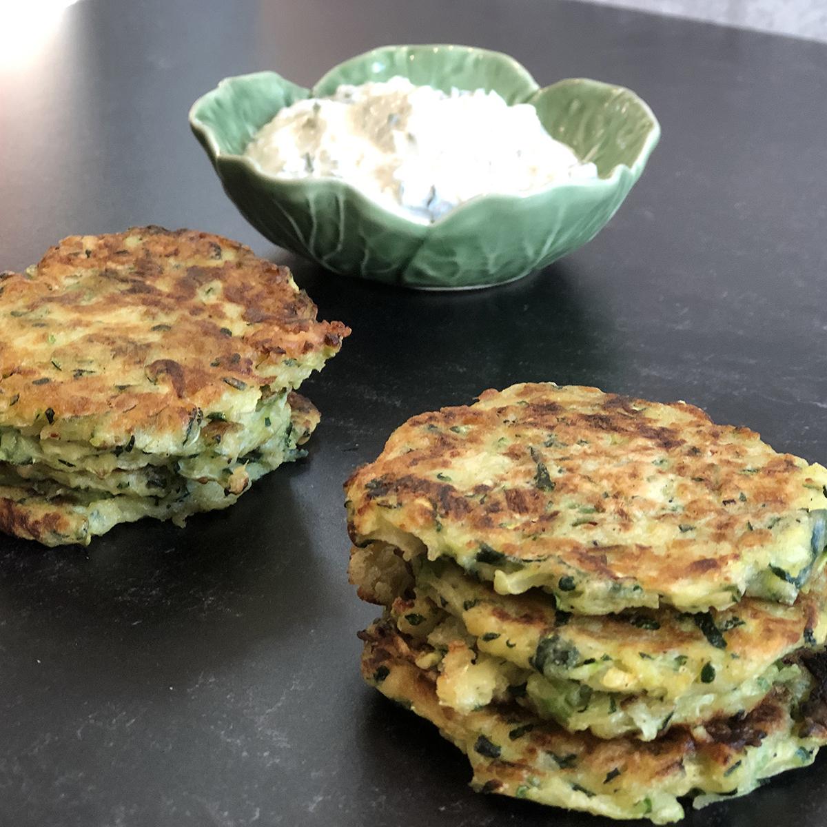 Zucchini Fritters with Herb Yogurt