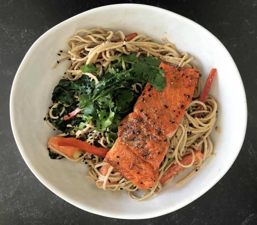 Soba Noodles with Tahini topped with Salmon