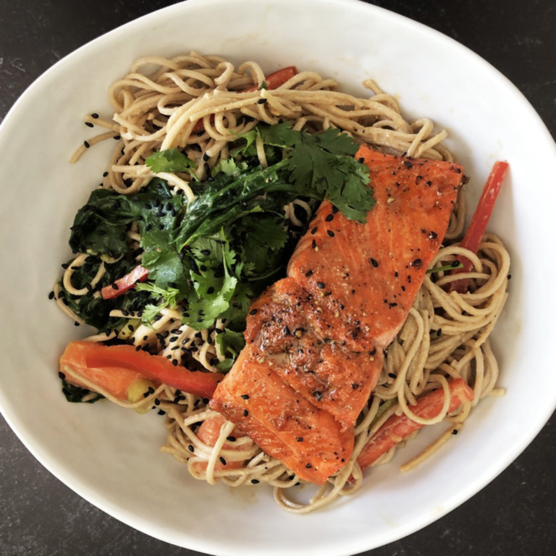 A wonderful combination of soba noodles in a tahini, soy and garlic sauce with Asian style salmon.
