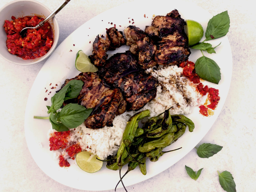 Grilled Chicken with Tamarind Glaze with shishito peppers