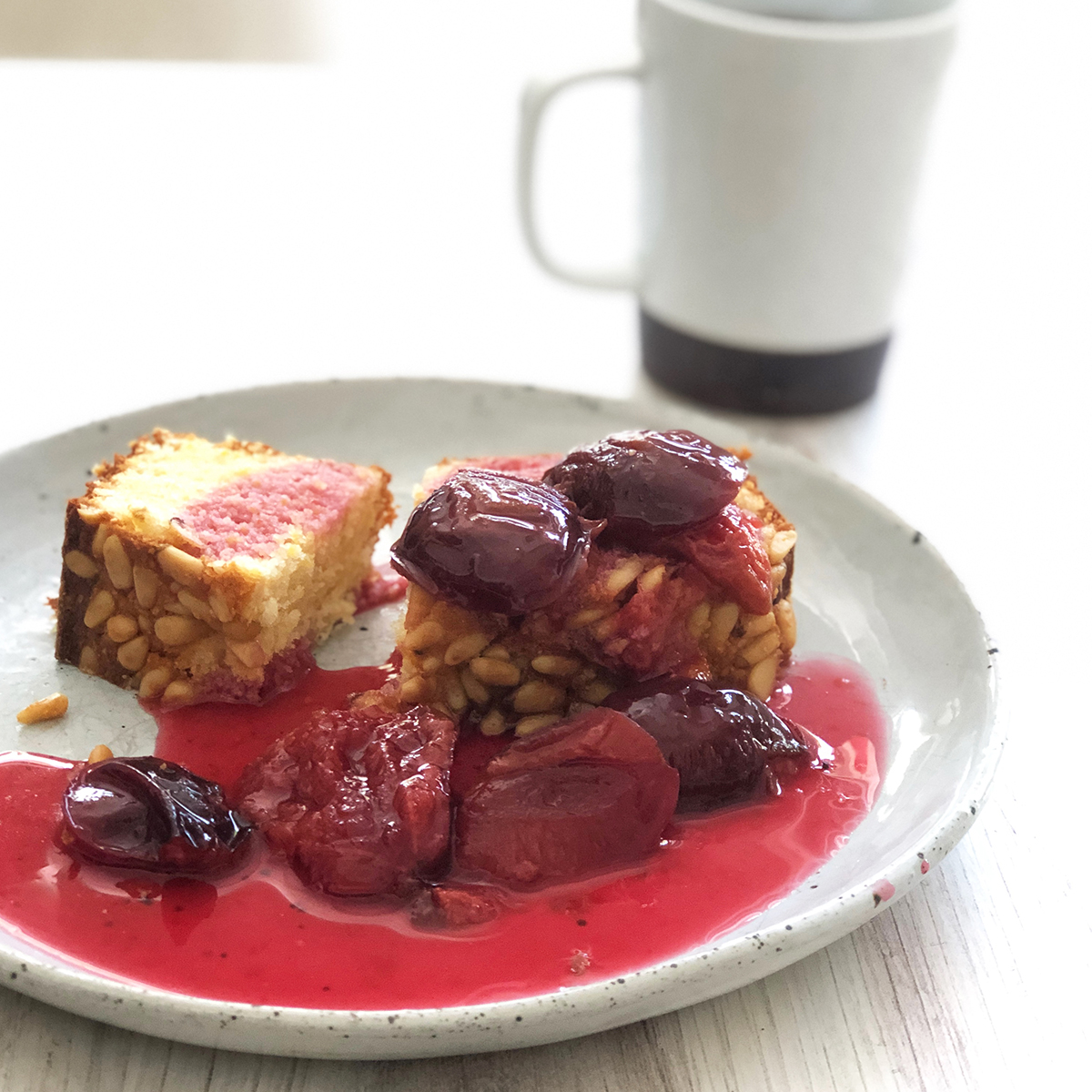 Corn Cake with Plum Compote