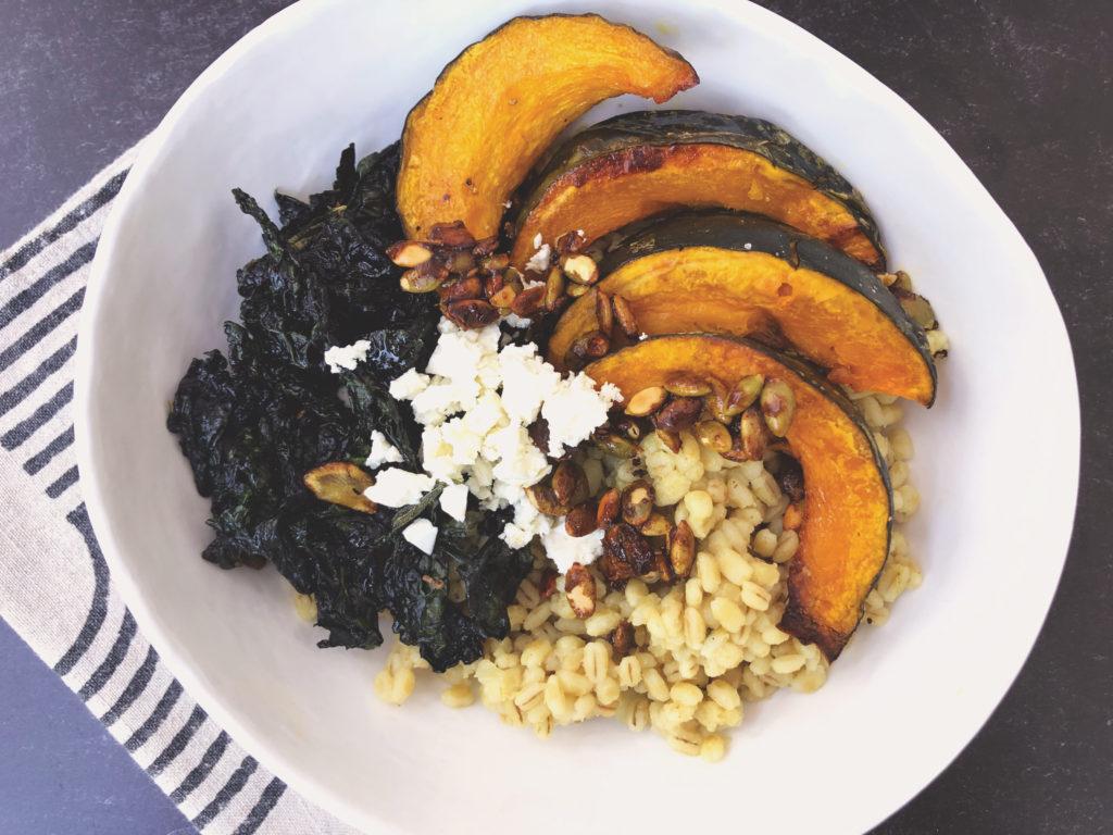 Barley, Roasted Kabocha Squash and Crispy Kale