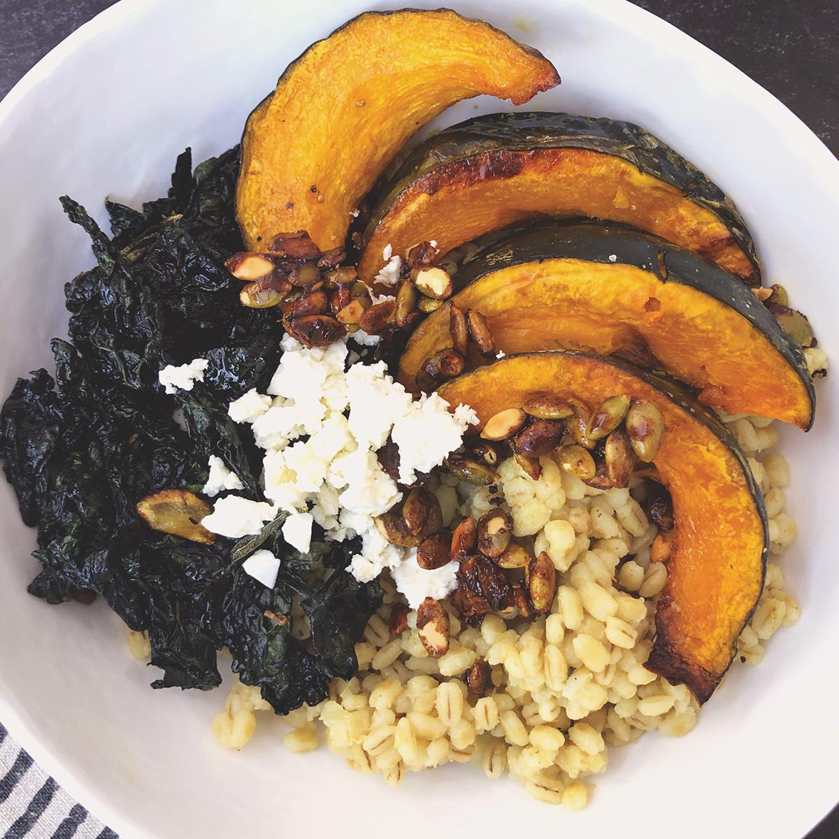 Barley, kobocha squash and crispy kale