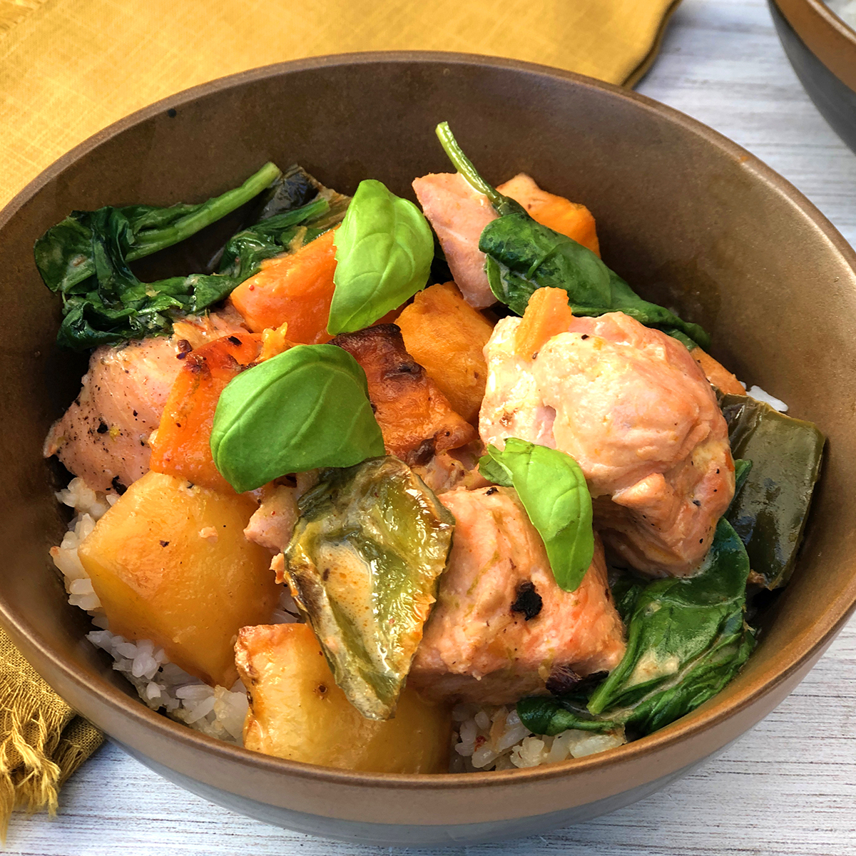 Thai Salmon Stew with Smoky Roasted Vegetables