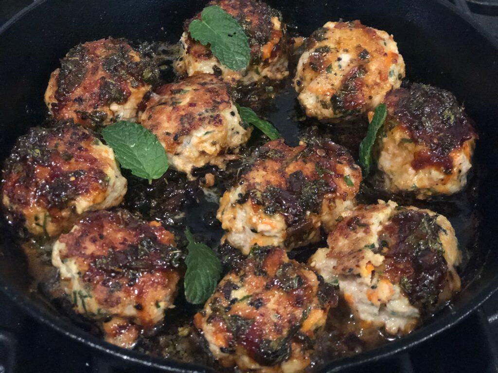 Chicken Meatballs with Balsamic Glaze