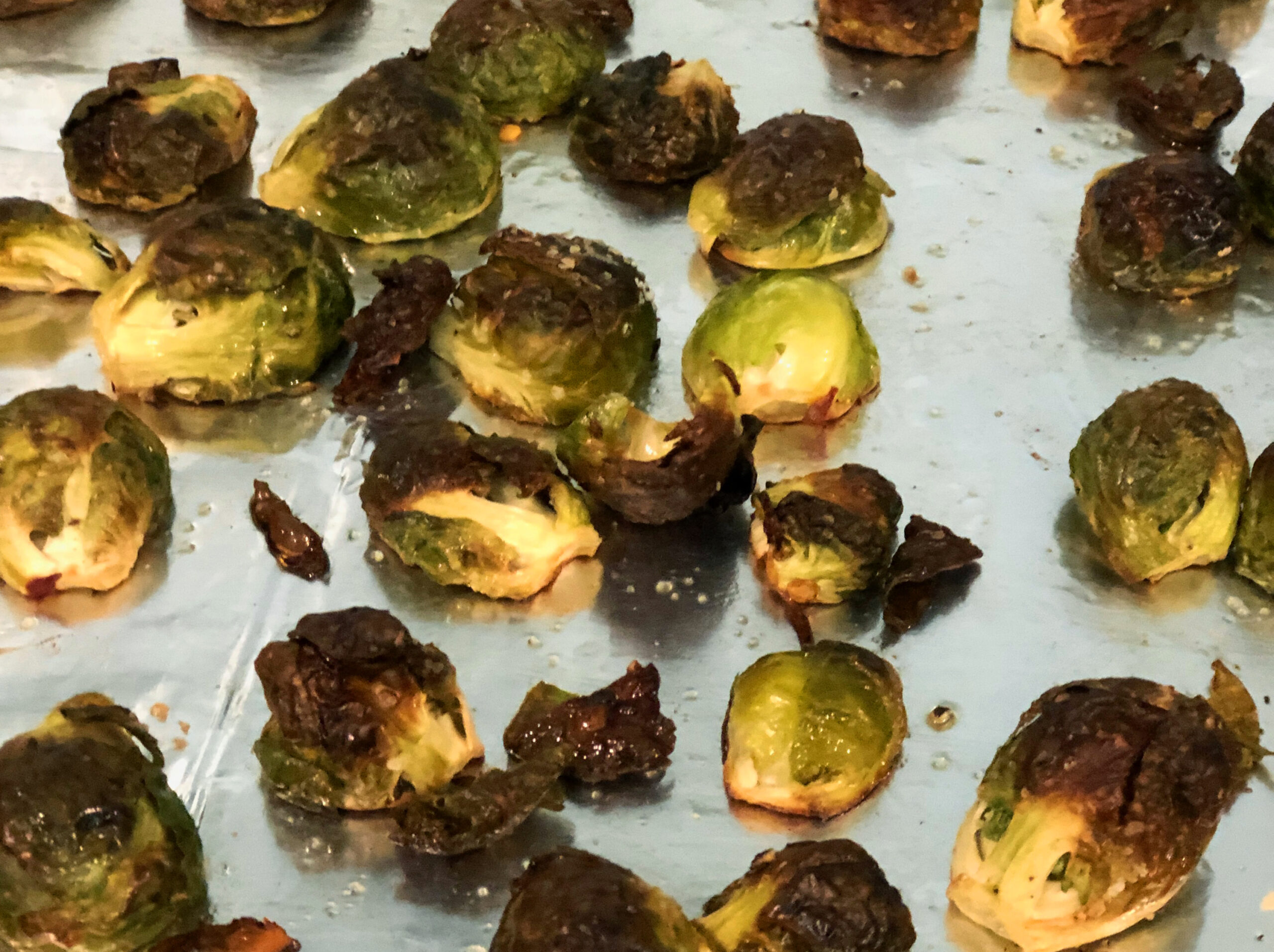 Brussels Sprouts on roasting pan