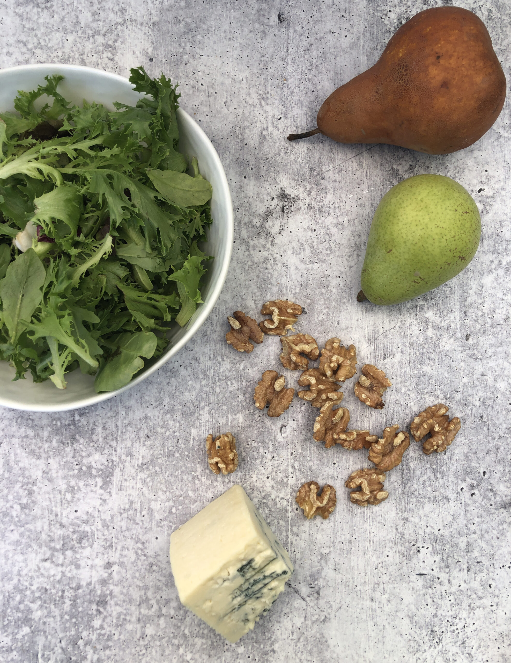 Pear, Walnut and Blue Cheese Salad ingredients