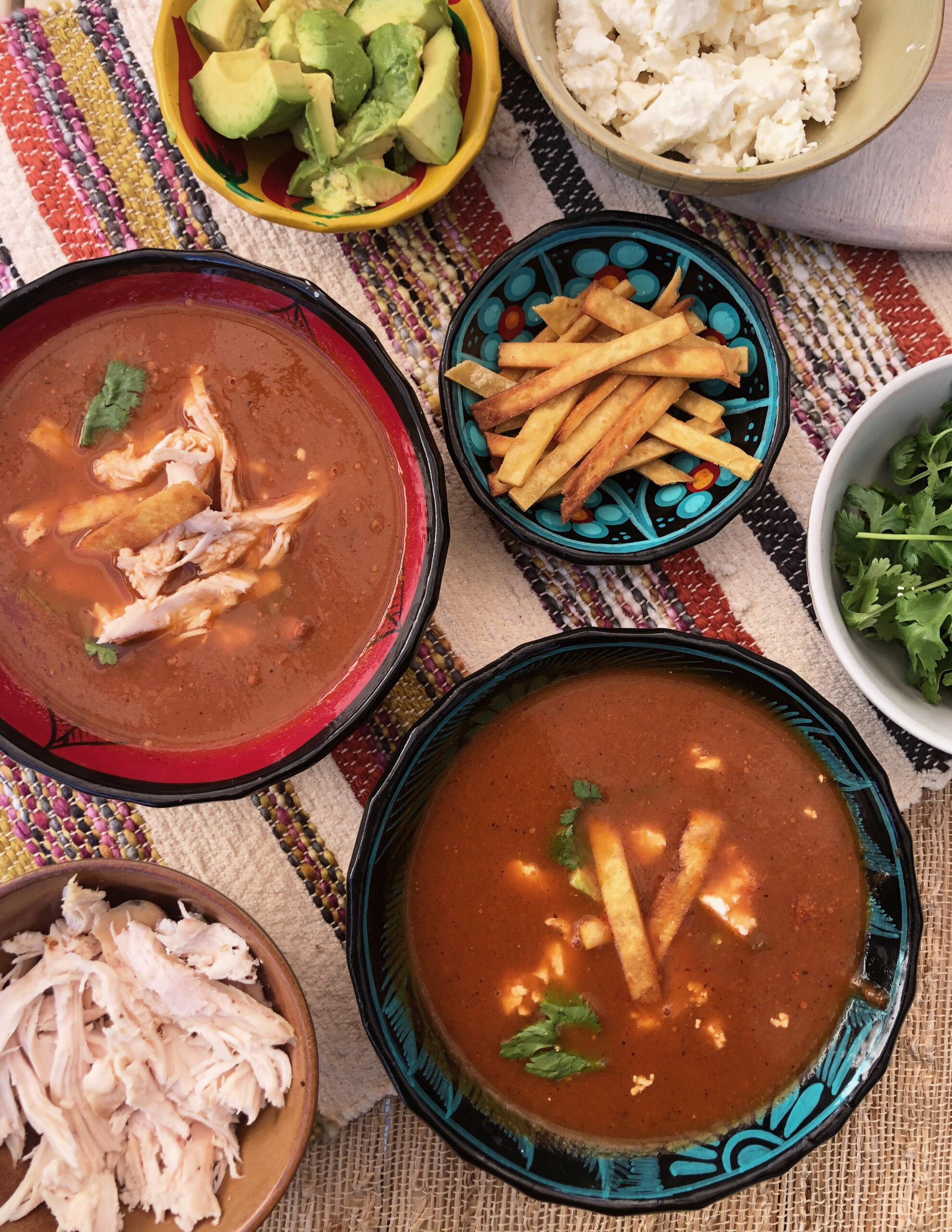 Vegan Tortilla Soup and all of the toppings – cilantro, feta cheese, chicken