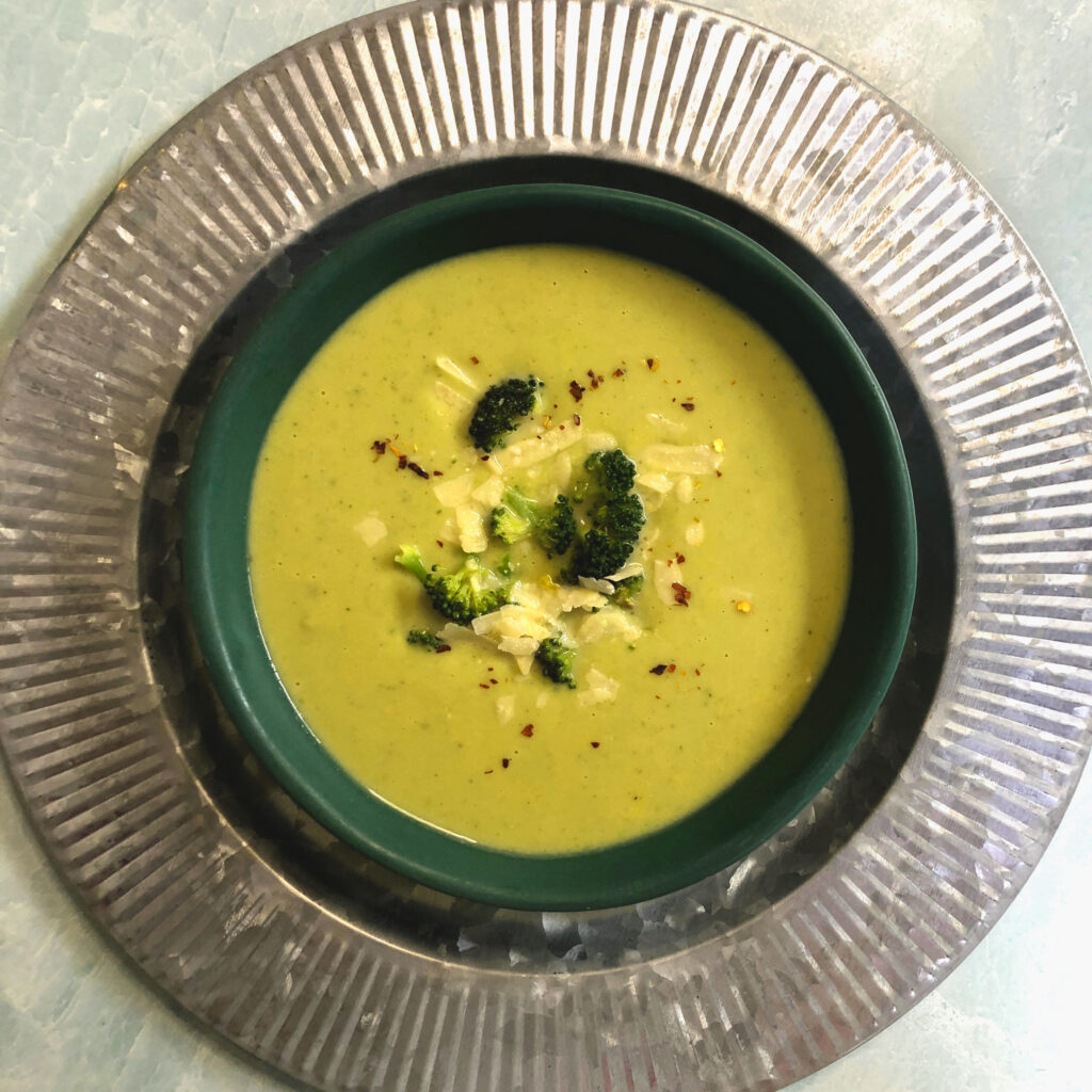 Broccoli Soup with Cheddar and Parmesan
