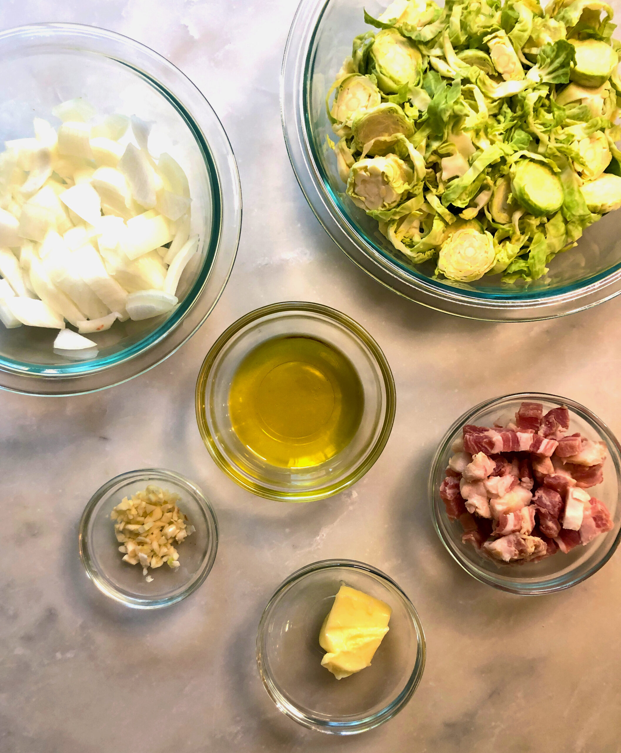 Brussels sprouts with pancetta and egg noodles ingredients