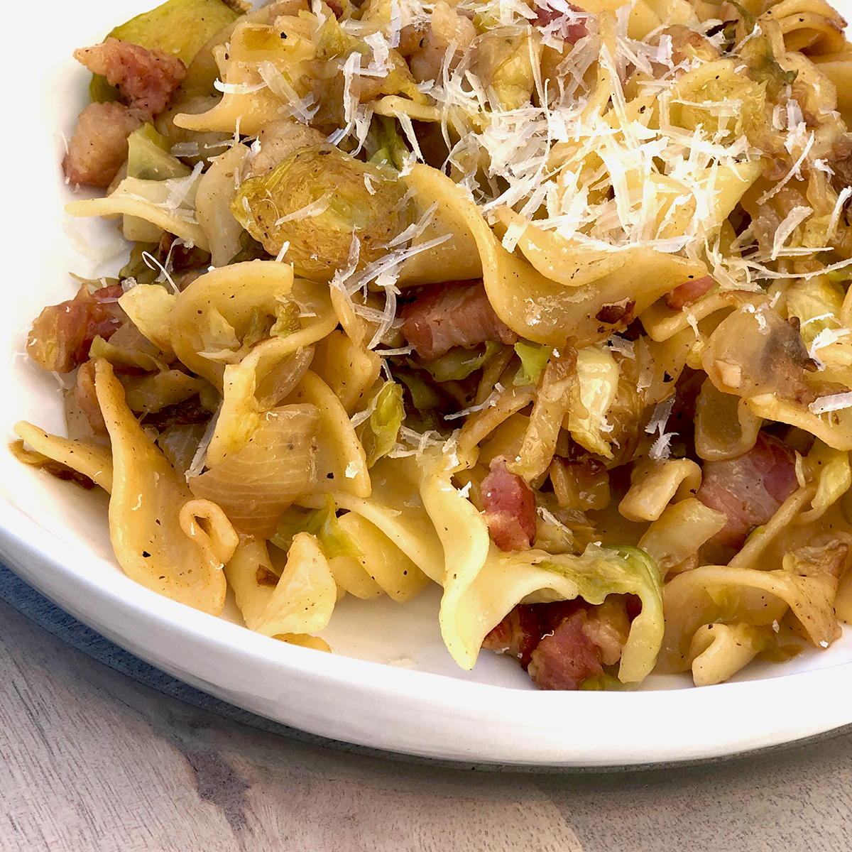Brussels Sprouts with Pancetta and Egg Noodles